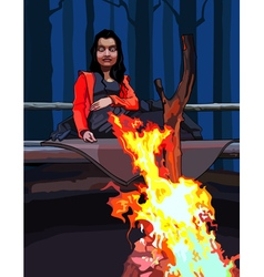 cartoon woman sitting around a campfire vector image vector image