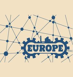 Europe word build in gear vector