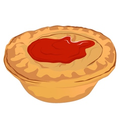 Meat Pie with Tomato Sauce vector image vector image