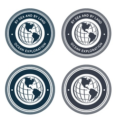 Nautical emblem with globe vector image vector image