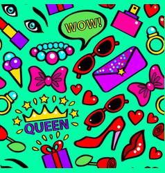 pop art girlish fashion sticker background pattern vector image