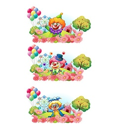 Three scenes of clown smiling in the garden vector image vector image