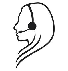 women headset symbol vector image