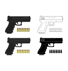 9 mm pistol and bullets vector image