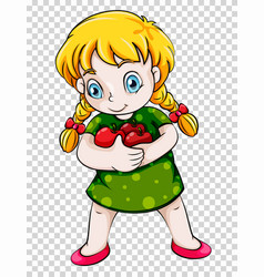 girl holding red apples on transparent background vector image