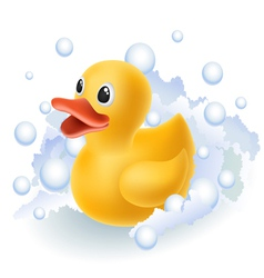 Rubber duck in foam vector