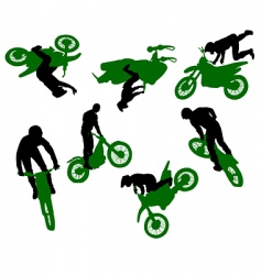 silhouette of stunt man vector image vector image