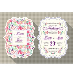 vintage flower wedding invitation card vector image