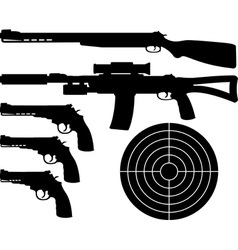 weapons silhouettes and target vector image vector image