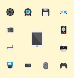 Flat icons monitor web cam laptop and other vector