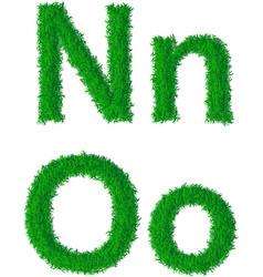 Green grass alphabet vector image