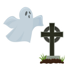 halloween grave and ghost vector image vector image