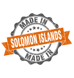 Made in solomon islands round seal vector