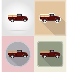 old retro transport flat icons 09 vector image vector image