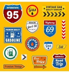 Set of vintage retro gasoline signs and labels vector image vector image