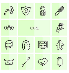 14 care icons vector