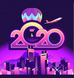 2020 calendar holiday city vector image