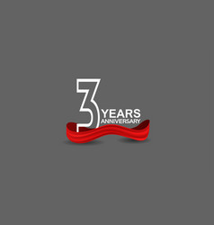 3 years anniversary line style white color vector