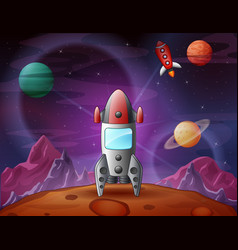 A spaceship landed on moon surface and planets bac vector