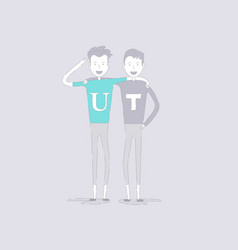 adult guysmentwo best friendshappy smiling vector image