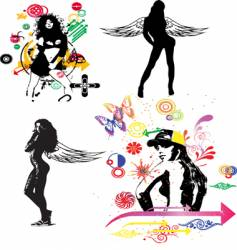 art silhouettes vector image