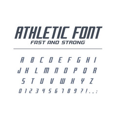 Athletic fast and strong universal font sport run vector