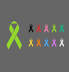 Awareness ribbons various colors vector