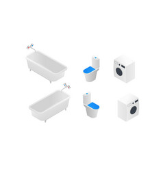 bathroom toilet washing machine in isometric vector image