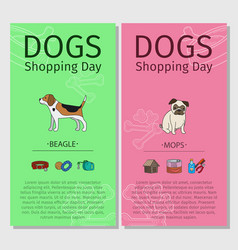 Beagle and mops dog shopping day vector