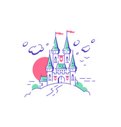 Big fairytail medieval castle towers on white vector