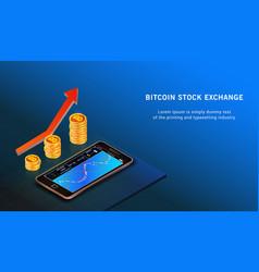Bitcoin up growth concept bitcoin revenue forex vector