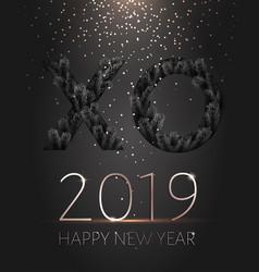 black xo paper cut new year 2019 gold confetti vector image