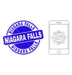 Blue grunge niagara falls seal and web mesh mobile vector