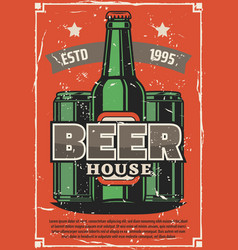 brewery retro poster craft beer bottle vector image