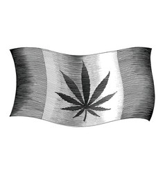 cannabis day flag hand drawing vintage style vector image