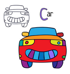 car coloring book page vector image
