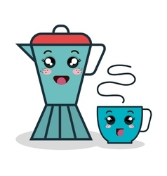 Cartoon coffee maker and cup facial expression vector