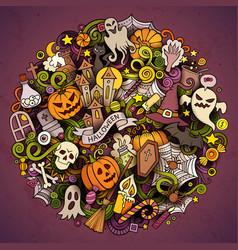cartoon hand drawn doodle halloween circle vector image