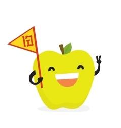 Cartoon smiling kawaii apple vector image