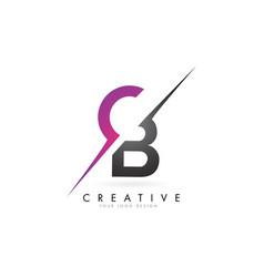 Cb c b letter logo with color block design vector