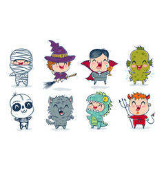 children with costumes for halloween vector image
