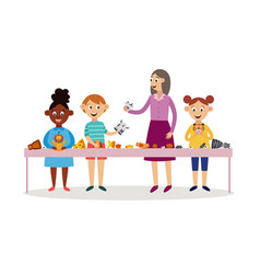 Children with teacher playing hands puppets flat vector