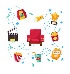 cinema design elements and icons vector image