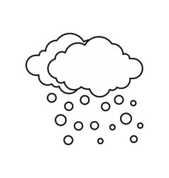 Cloud and snow icon outline style vector image