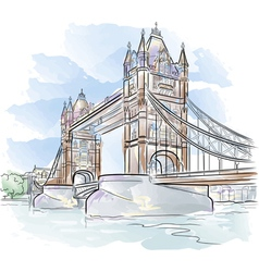 Drawing color tower bridge in london uk vector