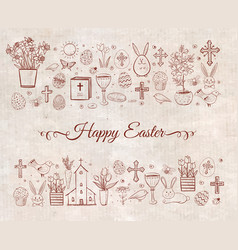 Easter greeting card with easter doodles on vector