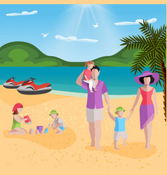 Family rest in lagoon composition vector