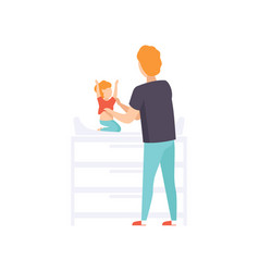 Father dressing his baby toddler on a changing vector