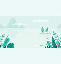 Flat background of spring landscape with vector