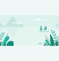 Flat background spring landscape vector